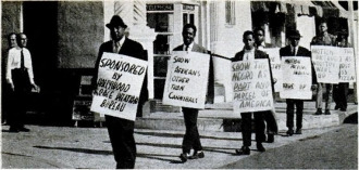 Members of the Hollywood Race Relations Bureau picket Paramount Studios in January 1962 (Jet magazine, January 25, 1962)