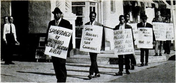 Members of the Hollywood Race Relations Bureau picket Paramount Studios in January 1962 (photo from Jet magazine, January 25, 1962)