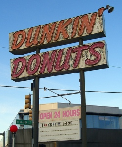 Dunkin' Donuts sign that stood in Brighton, MA, until 2008 (cc photo by walknboston)