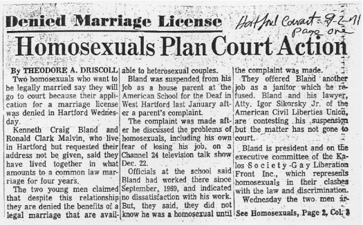 "Newspaper article: ""Denied Marriage License: Homosexuals Plan Court Action,"" Hartford Courant, September 2, 1971"