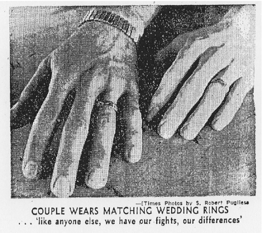 "News photograph: ""Couple Wears Matching Wedding Rings,"" Hartford Times, September 27, 1970"
