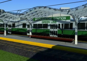 Still from Massachusetts DOT rendering of the Brickbottom station on the extended Green Line.