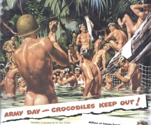 "Detail of 1943 advertisement for Cannon Towels--or, technically, for war bonds--depicting ""the bathing facilities of our boys in the service."" Click for full advertisement."
