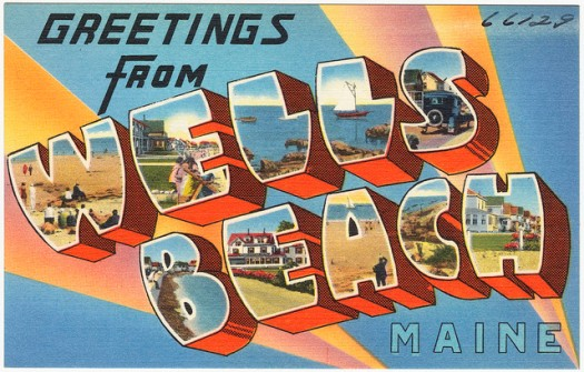 """Greetings From Wells Beach, Maine"" (cc image from Boston Public Library)"