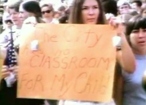 Screengrab from 1974 WGBH report on anti-busing rally in Boston (click image to link to video).
