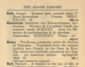"Entry for John Adams's Koran, from 1917 ""Catalogue of the John Adams Library in the Public Library of the City of Boston"" (click for full text)"