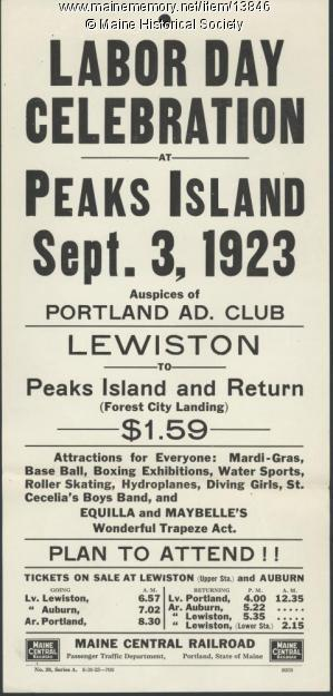 Flyer advertising 1923 Labor Day rail excursion to Peaks Island, ME (Broadside Collection, Maine Historical Society, click for details)