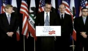 Ted Olson, Chad Griffin, David Boies, and plaintiff Jeff Zarrillo at AFER's May 27, 2009 press conference (screengrab from live webcast)